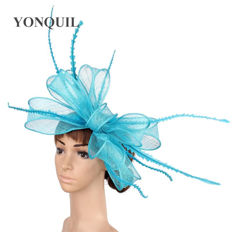 Элегантные головные уборы sinamay, Свадебные шляпы для невесты, высококачественные Коктейльные головные уборы, вечерние головные уборы, несколько цветов - Цвет: Небесно-голубой
