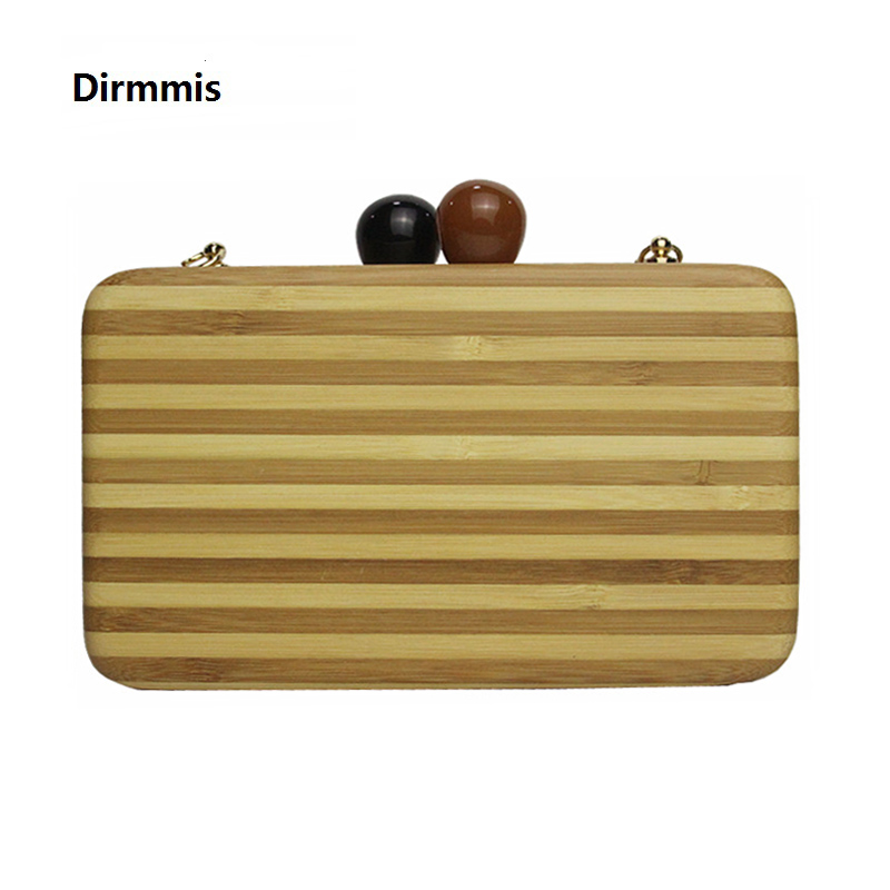 2018 New brand fashion Wallet Women messenger bag wooden Striped shoulder bag elegant woman party prom evening bag casual Clutch new 2017 women messenger bag brand fashion elegant acrylic eye eveng bag woman party prom shoulder bags cartoon patchwork clutch