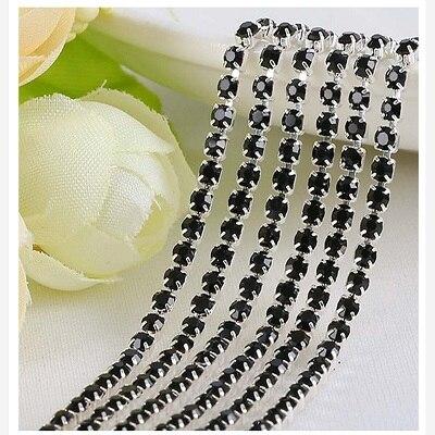 1 ярд/шт, 30 цветов, стеклянные хрустальные стразы на цепочке, Серебряное дно, Пришивные цепочки для рукоделия, украшения сумок для одежды - Цвет: Black