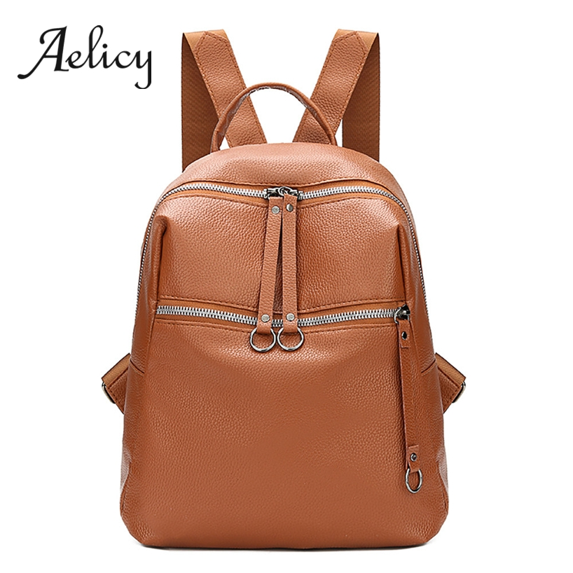 Aelicy Leather Backpack Women Travel Satchel Quality PU School Bag Lady Fashion Retro Vintage Shoulder Backpacks BagAelicy Leather Backpack Women Travel Satchel Quality PU School Bag Lady Fashion Retro Vintage Shoulder Backpacks Bag