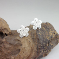 Guizhou Miao Fashion Jewelry Stud Earrings Sterling Silver 925 White Ear Studs Flower Kpop Earring Vintage Earings For Women