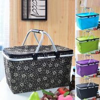 Outdoor Camping Storage Cooler Basket 30L Large Travel Portable Folding Picnic With Lid Package Hamper Ice Pack Insulation