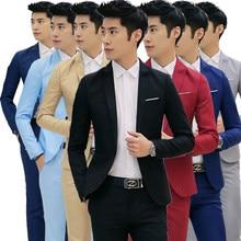 4f52a708fc7c8 Moda personalizada chaqueta Formal vestido hombres traje conjunto hombres casual  boda trajes novio coreano Delgado Fit
