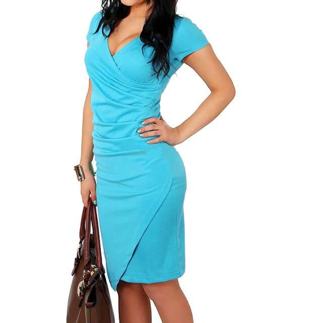 32e70efcd placeholder FEIBUSHI vestido de verano para mujer talla grande sólido trabajo  de oficina de manga corta lápiz