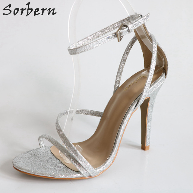 b7488f23463 Sorbern Silver Glitter Ankle Straps Womans Size 6 Shoes DIY Color Women  Sandals High Heels Open Toe Work Shoes Celebrity Sandals