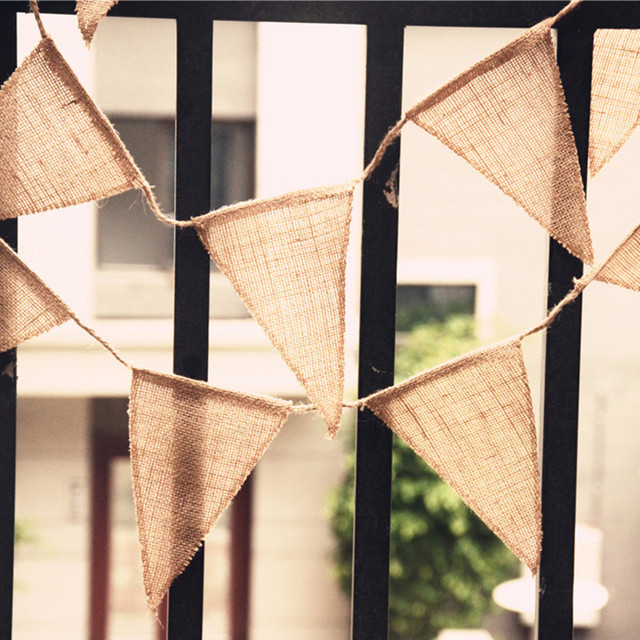 DIY Home Decoration Banner Event Party Supplies Jute Flag Rustic Hessian Burlap Bunting Shabby Chic Wedding