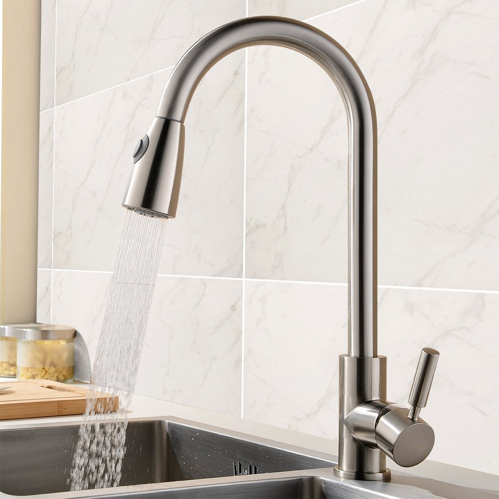 ᐂBrass Pull Out Spray Kitchen Faucet ea1219b661a1