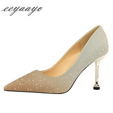 2019 New Spring/Autumn Women Pumps High Thin Heel Pointed Toe Shallow Sexy Bling Bridal Wedding Women Shoes Gold High Heels jawakye bling gold silver pumps women sequin high heels metal chain silk ribbon wedding bridal shoes women chaussure femme