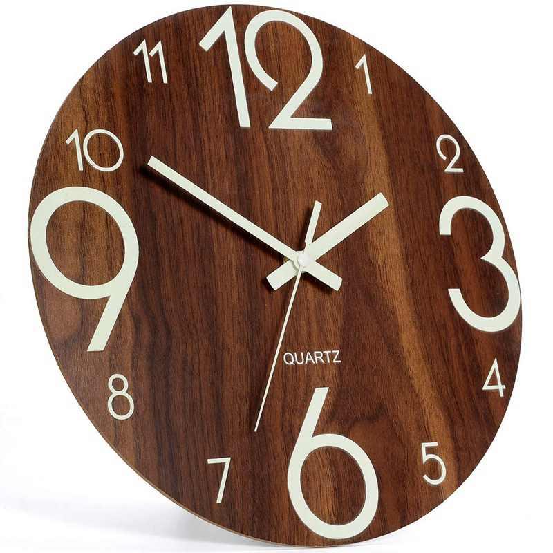 זוהר, 12 אינץ עץ שקט ללא מתקתק מטבח שעוני קיר עם לילה למקורים/חיצוני סלון מיטה