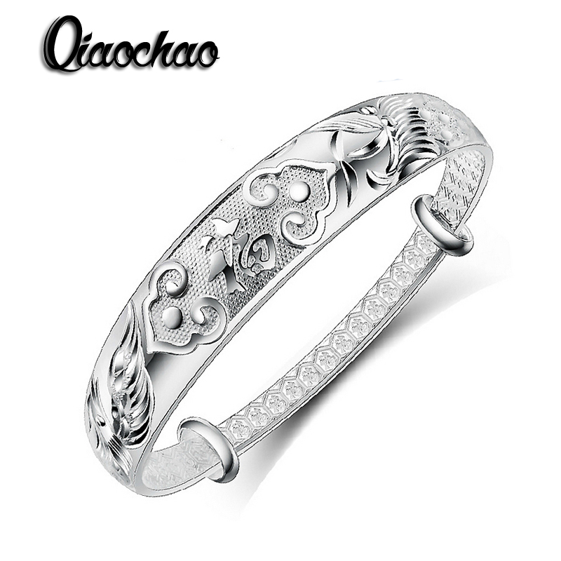 New Silver Plated jewelry Buddhist sutra bracelets for women jewelry wholesale classical bracelets bangles adjustable Z110