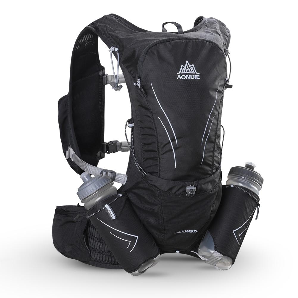 AONIJIE 15L 大型ランニングバッグと 2 個 600 ミリリットルボトル屋外マラソン反射ハイキングサイクリングバックパック水分補給ベストパック