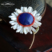 GLSEEVO Natural Fresh Water Baroque Pearl Lapis Lazuli Flower Brooches For Women Gift Pendant Dual Use Fine Jewellery GO0055