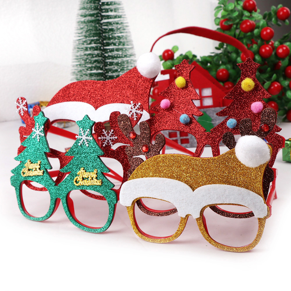 1pc Christmas Decorations For Home Decor New Year Glasses Gifts For Children Santa Claus Deer Snowman Christmas Ornaments Random