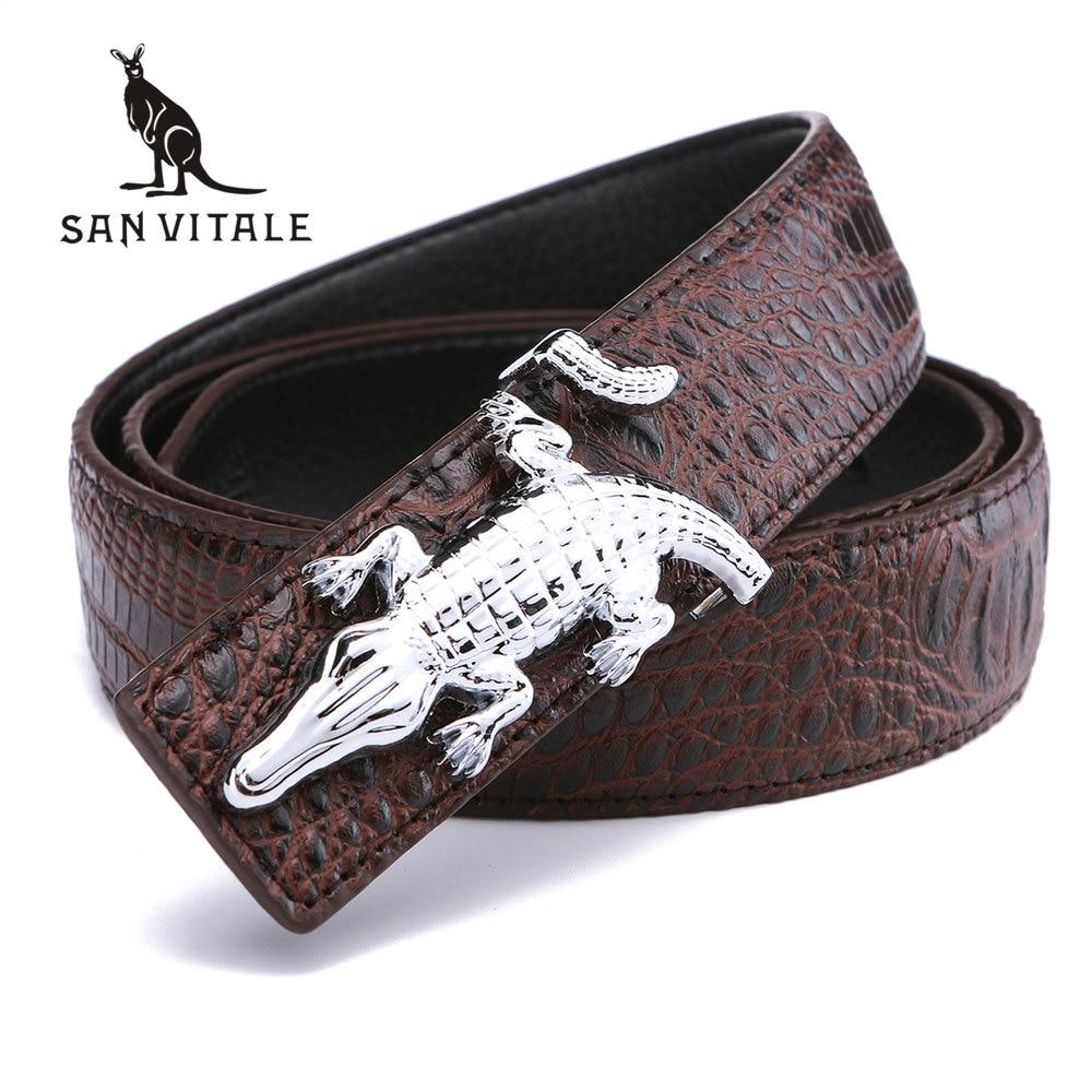 Cinturones de hombre para hombre de negocios Correa de vaca Cuero de cocodrilo Cinturón Buena Buena Calidad Nuevo Diseñador Hebillas Regalos para hombre Jeans