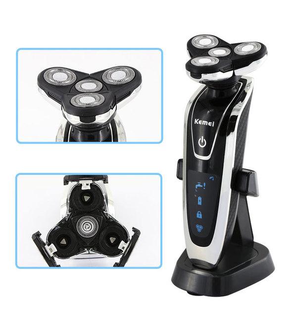 Cuerpo totalmente lavable máquina de afeitar eléctrica de afeitar rotatoria barba para los hombres hombre del bigote 3D facial afeitado clipper cortador de afeitar recargable