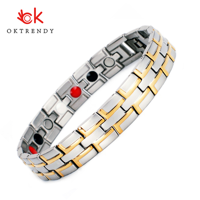 Couple Bracelets Magnetic Bracelet Men Jewelry Stainless Steel Charm Bracelet Women 4 in1 Magnet Health Bracelets Jewely
