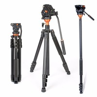 Coman DF06 Professional Video Tripod with Fulid Damping Tripod Head Parnoramic Shooting Monopod for Canon DSLR Cameras Camcorder