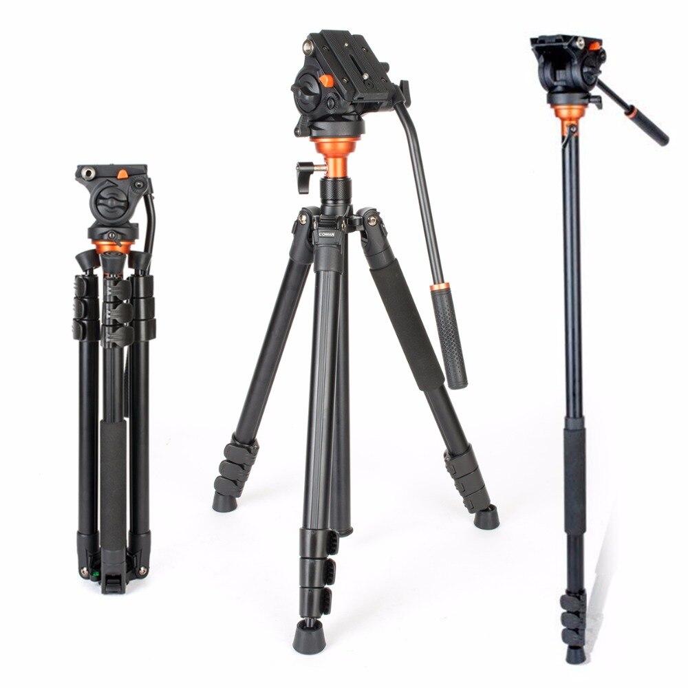 Coman DF06 Trépied Vidéo Professionnel avec Fluide D'amortissement Trépied Tête Parnoramic Tir Monopode pour Canon DSLR Caméras Caméscope