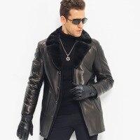 Для Мужчин's Мех пальто кожаная куртка Дубленки Роскошные норки меховой воротник Длинная Верхняя одежда TJ8127
