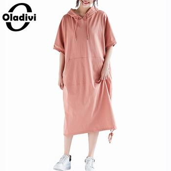 6b1ffb77436b Oladivi talla grande vestido bohemio mujer algodón Lino Casual verano manga  corta Boho Maxi ...