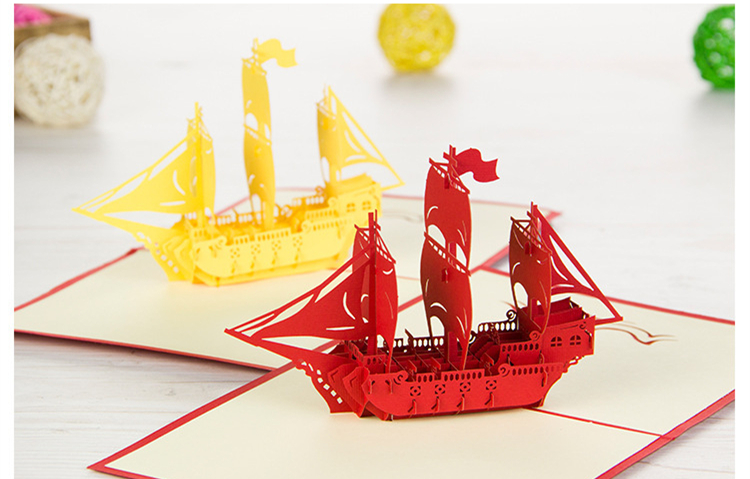 Aliexpress.com : Buy 15x15cm 3D Sailing Ship Greeting ...