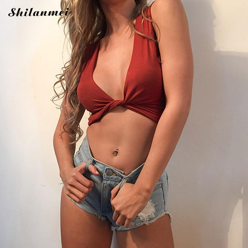 Sexy deep v neck bow short crop top tees Casual orange tank top Summer 2017 streetwear white women tops