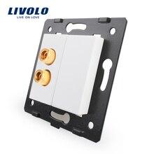 Livolo Белые пластиковые материалы, стандарт ЕС, функциональный ключ для звуковой розетки, VL-C7-91A-11(4 цвета