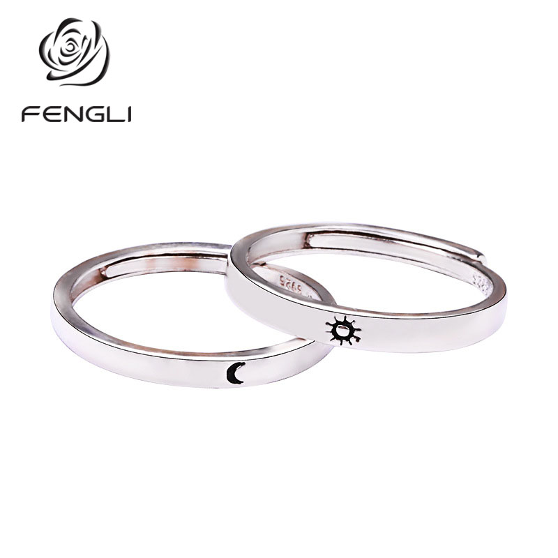 FENGLI Personality Silver Moon Star Finger Rings Romantic Female Ring for Women Christmas Gift Wedding Jewelry