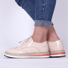 women Patent Leather Fashion Women Shoes Bullock Lace-up Female Flat Platform Shoes Height Increasing casual Flats