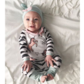 New Arrival Baby Girls Clothing Set Baby Boys Clothes Grey Hat With Butterfly Knot +Horse Printing Top+Pants 3 Pcs Set