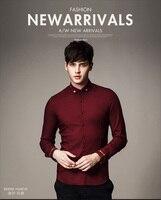 Darmowa wysyłka nowa moda męska mężczyzna na co dzień Wiosny wydrukowano człowiek długi rękaw koszula Szczegóły haftowane gentleman wino czerwone M06506