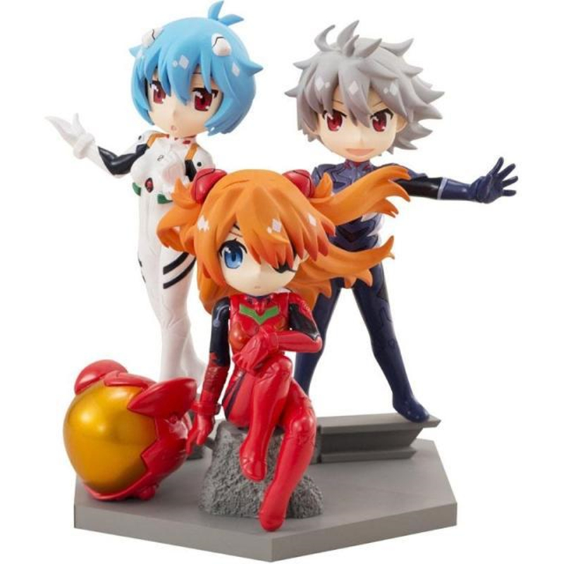 2019 3pcs/lot Neon Genesis Evangelion EVA Figures Toy Ayanami Rei Asuka Langley Soryu Nagisa Kaworu Q Version Model Doll Kid