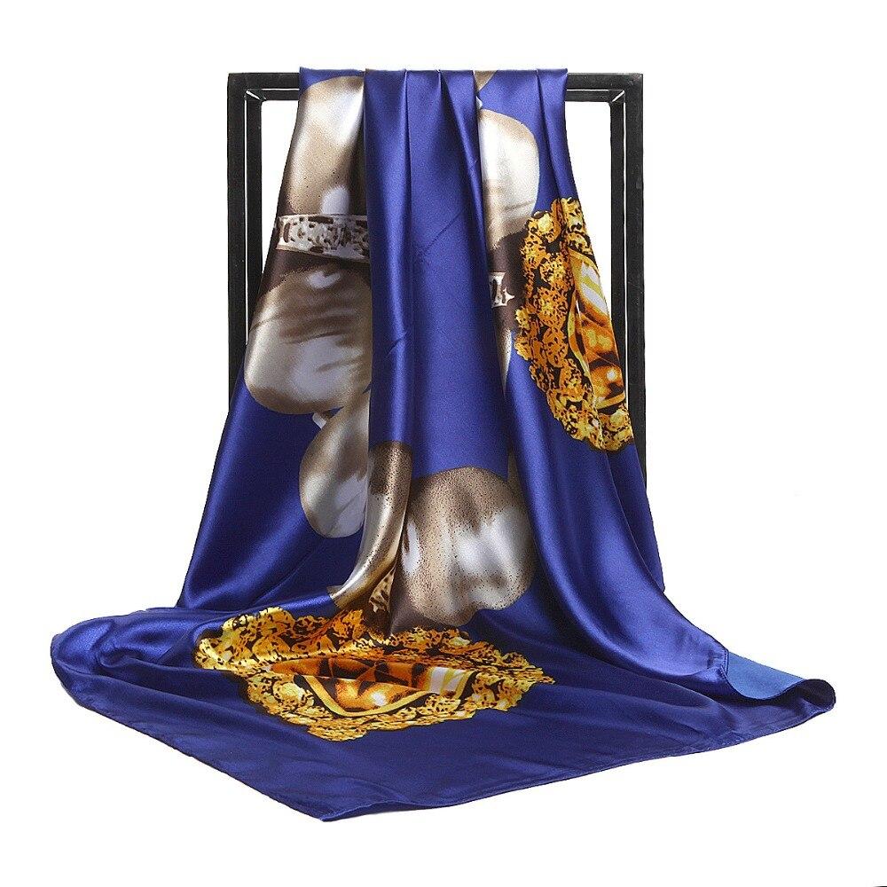 Fashion Women   Scarf   Luxury Brand Leopard Flower Hijab Silk Satin Shawl Scarfs Foulard Square Head   Scarves     Wraps   2018 NEW 90x90cm