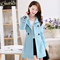 Hot sale 2017 autumn high fashion trend street women's Botton blend Trench Coat Casual long Outerwear loose clothing for lady