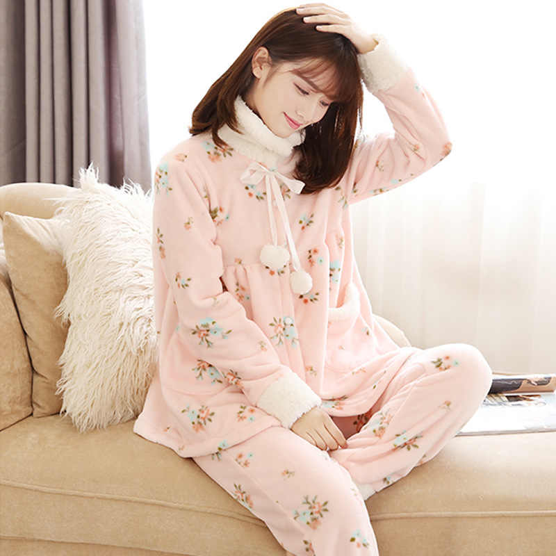 ... New female pajamas suit autumn winter long sleeved flannel Home Clothing  turtleneck Sweet warm Thicker sleepwear ... bd37fee21