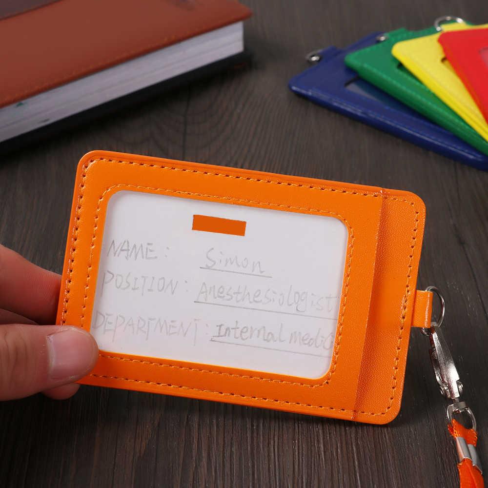 حافظة بطاقات جلدية PU مع حبل الحبل بطاقات العمل كم ID شارة حافظة بطاقة بنك ائتمانية واضحة غطاء حامل اللوازم المكتبية