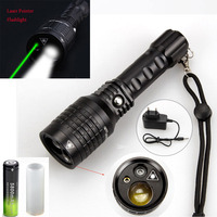 2 in1 Multi Function LED Powerful Zoomable Green Laser Torch Flashlight Lamp+charger +rechargeable 18650 battery
