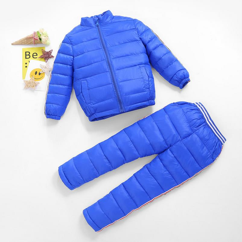 2017   Children Set Boys Girls Clothing Sets Winter Hooded Down Jackets+Trousers Waterproof Thick Warm  Kids Clothing Sets 2017 children matte down jackets clothing sets 2pcs coat trousers winter kids ski suits boys