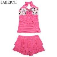 JABERNI 3 Pieces Bikini 2017 Brand Swimwear Sexy Pink Retro Swimsuit Push Up Women With 2