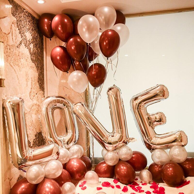 Grote goud zilver liefdesbrief folie ballon set hart helium latex - Feestversiering en feestartikelen