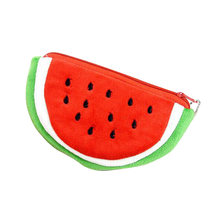 Grote Volume Watermeloen School Kids Pen Pencil Bag Case Populaire Portemonnees Pluche Rode Watermeloen Coin Zakken Fruit Portemonnee P5(China)