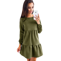 DERUILADY Casual Fashion O Neck Women Dress Autumn And Winter Womens Clothing 2018 New Loose Long