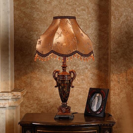 Lampshade Resin Table Lamp European Luxury Living Room Bedroom Beside
