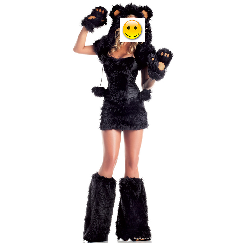 2017 New Sexy Wolf Panda Plush Animal Costume For Women Adult Black Teddy Bear Costume For Halloween Costumes Cat girl Cosplay