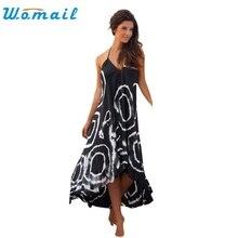 CharmDemon 2016 Frauen Sommer Print Halter Sleeveless Cocktailparty Long Beach Kleid jy18