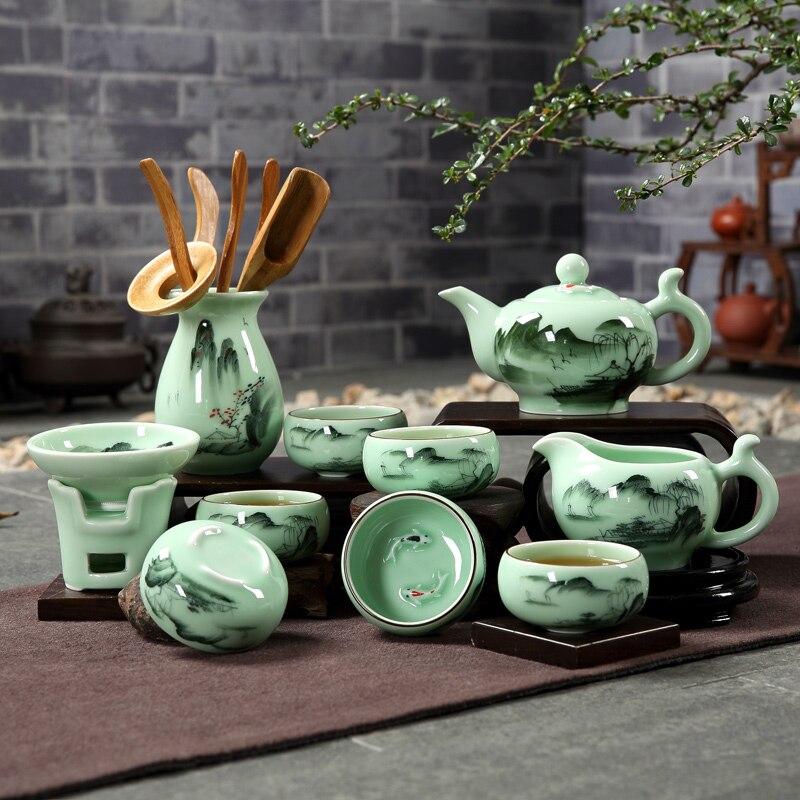 Style chinois peint à la main Vintage motif Celadon Teaware Set Teacups filtre juste tasse théière pour la maison thé cérémonie cadeau de mariage