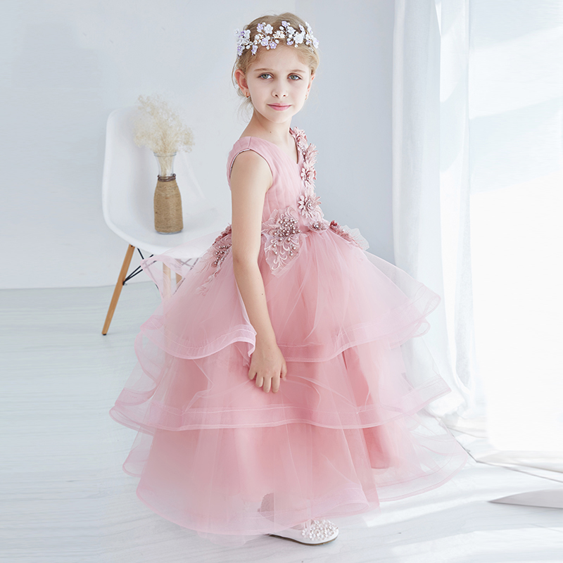 Wedding For Flower Girls Dress Lace Embroidery Appliques Ball Gown Dress Summer 2017 High Quality Prom Party Baby Girl Dress P11