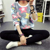 2017 New Women Knit Sweater Sexy Bottoming Knitted Pullover Fashion Stars Print Jumper High Elastic Spring