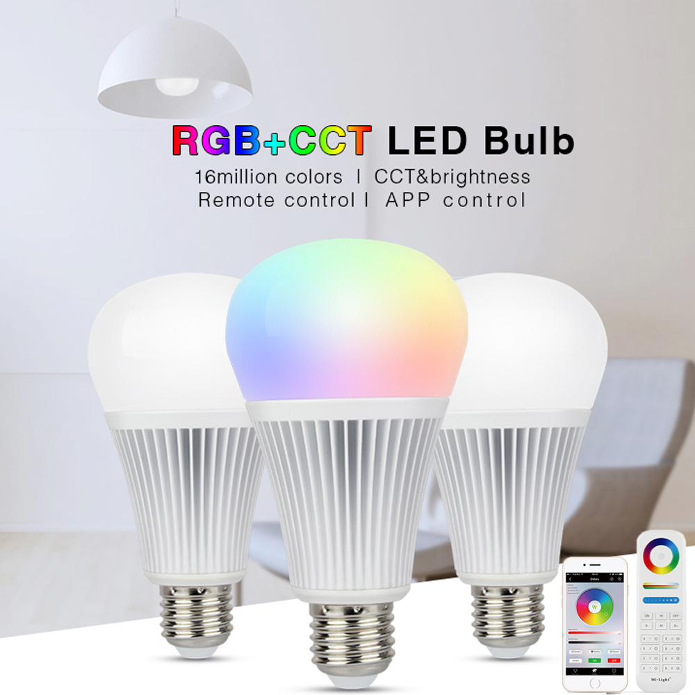 mi light RGB CCT wifi LED Bulb Light 12W Dimmable Smart Lamp E27 E14 GU10 MR16 RGBW led Spotlight Wifi 8 zone remote Controller dimmable gu10 led milight 4w ac 110v 220v 85 265v mi light led bulb lamp rgbw rgbww spotlight 2 4g wifi remote controller