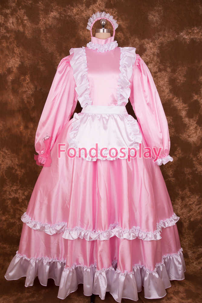 ce2e2ef970a60 Sexy Lockable Pink Satin Sissy Maid Long Dress Cosplay Costume ...